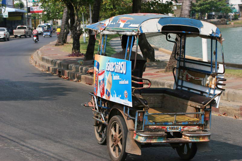 Once you get beyond Korat, the style of tuktuk changes from the type we are used to seeing in Bangkok, to this style, essentially a motorbike with a frame on the back.