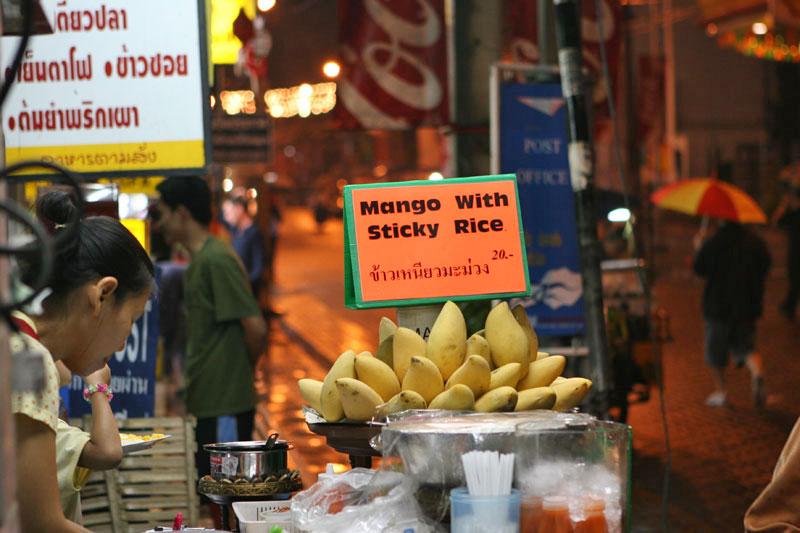 Signs in English in Thailand are usually a sign that something is overpriced but not at this vendor in Chiang Mai, a full plate of mango and sticky rice was had for just 20 baht.