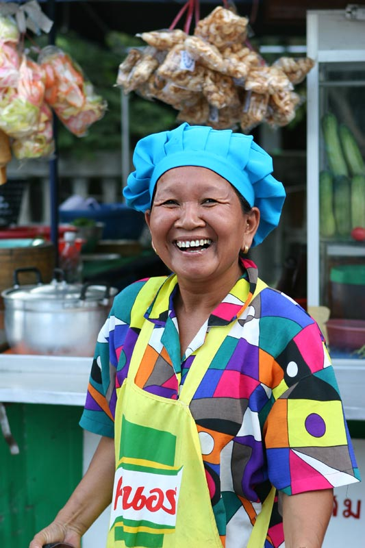 A lovely street vendor who couldn't stop smiling.