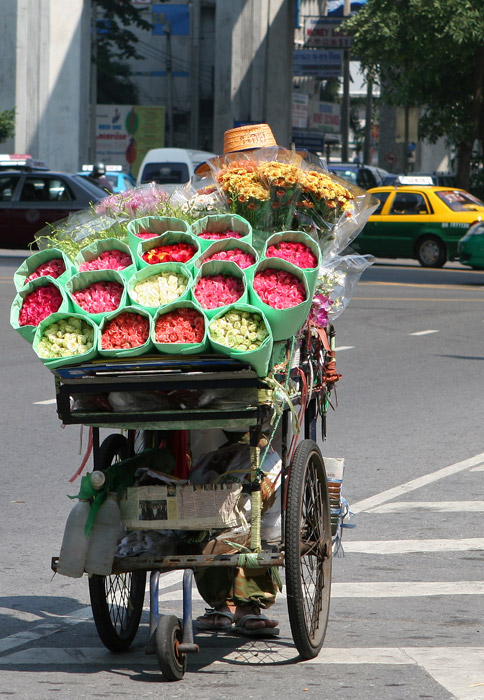 It says Noi on his hat. I guess he has been selling roses like this for many, many years.