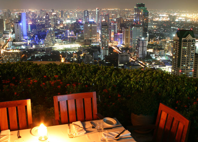 The restaurant atop State Tower overlooking the city at night. Exposed to the elements and over 200 metres up, I found it a little perturbing to be honest!
