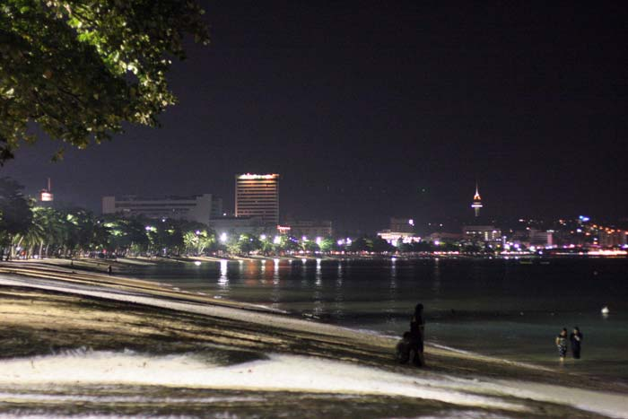 Pattaya Beach after midnight. This photo was hand-held at 3200 ISO, hence it is not so sharp.