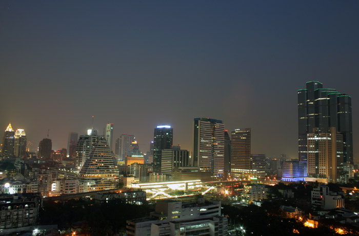 Taken from the Tower Inn Hotel on Silom Road, facing east at sunset time.