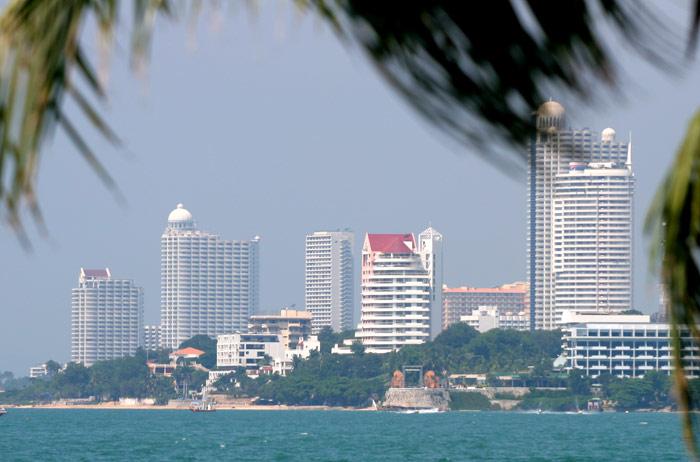 The view across Pattaya Bar, over towards Naklua, where it is rumoured that many new condominium buildings will be built.