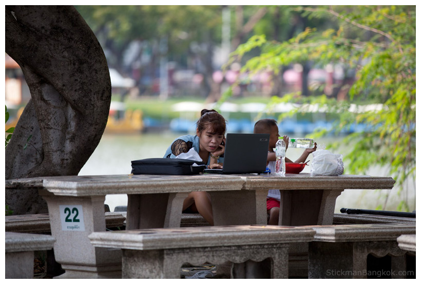 surfing the net in Bangkok